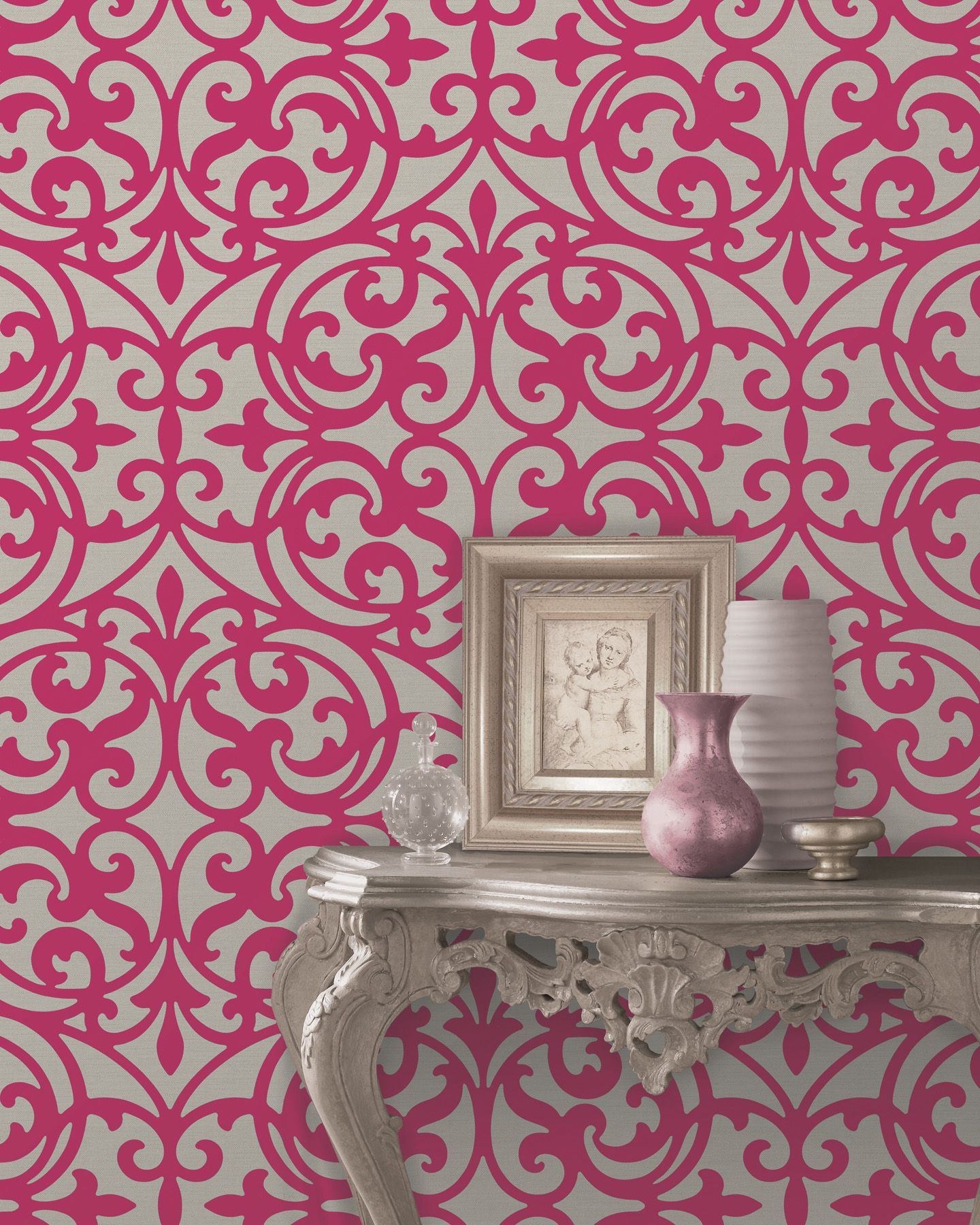pink wallpaper feature wall global chic modern decor