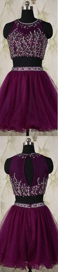 Homecoming Dress,2 Piece Homecoming Dresses,Silver Beading Homecoming Gowns,Short Prom Gown