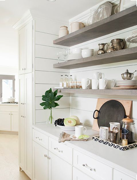 House Beautiful Is Open Kitchen Shelving A Trend Or Here To Stay Well They Have Been Around In Home And Open Kitchen Shelves Home Kitchens Shiplap Kitchen