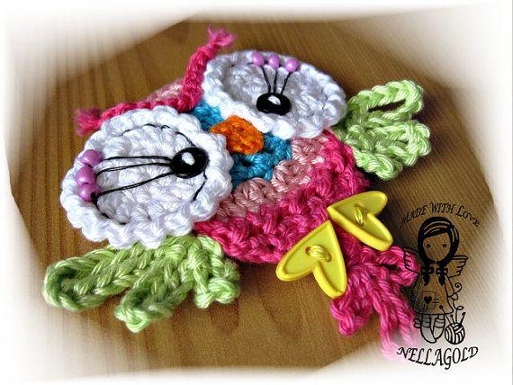 Cute Little Amigurumi Owl : Crochet pattern applique cute little owl application diy