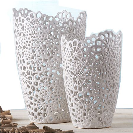 Twos company white lace vases white lace cutwork ceramic makes up these fashionable vases from