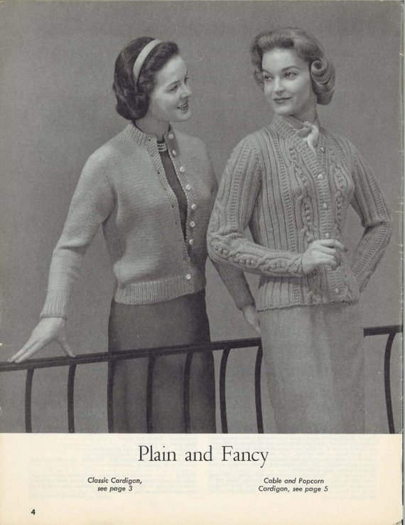 Cable Popcorn 1950s Cardigan Sweater Patterns 50s Vintage