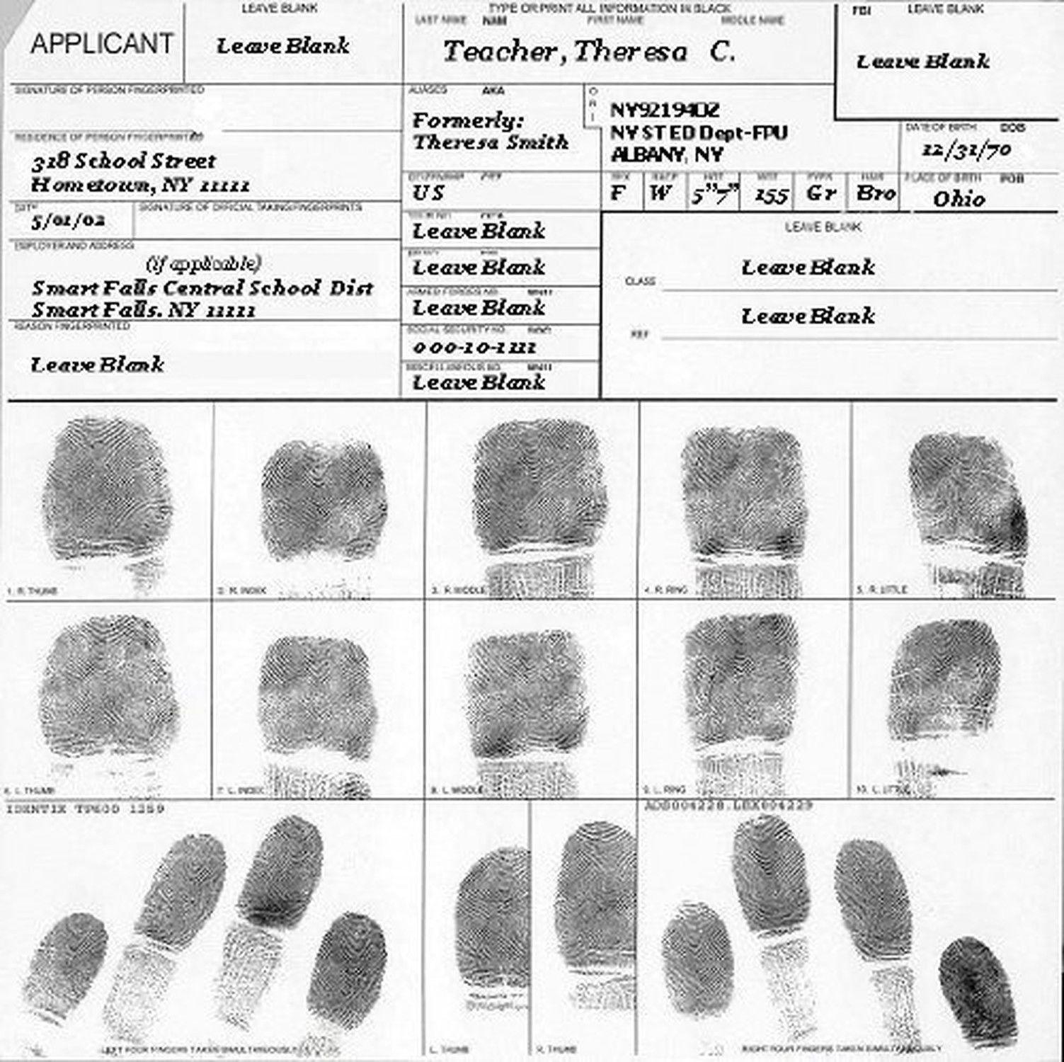 Fingerprint Cards Applicant Fd 258 5 Cards