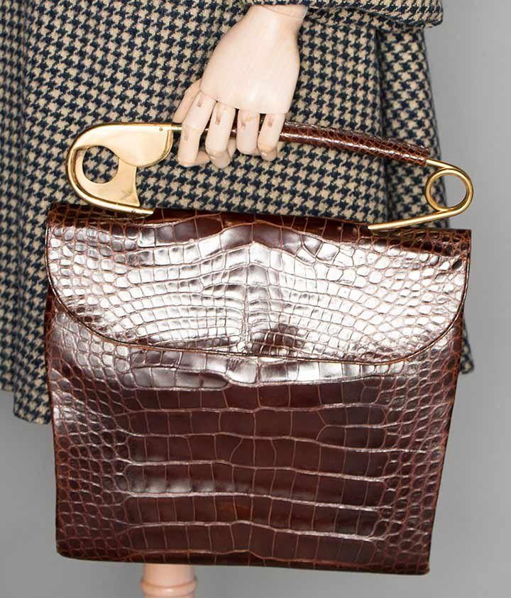 Koret alligator bag with huge safety pin handle