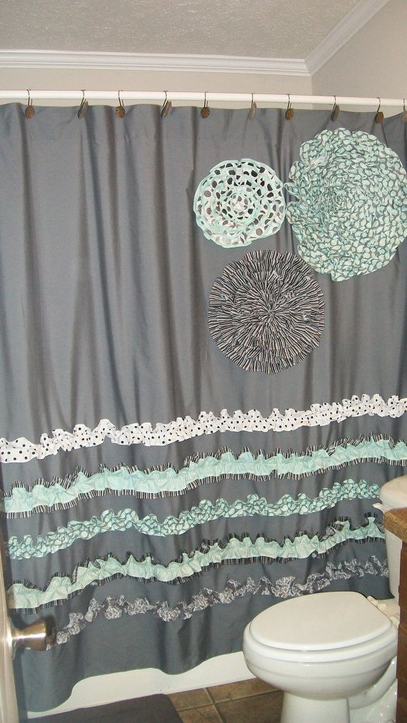 Greatest Shower Curtain Custom Made Ruffles and Flowers Designer Fabric  ID76