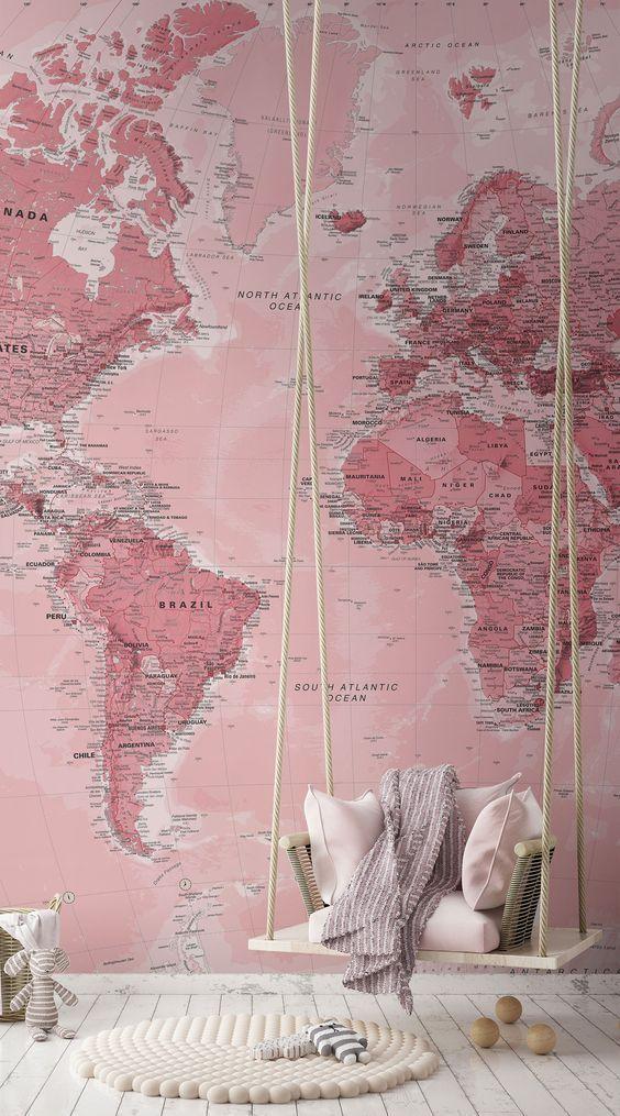 Papier Peint Carte du Monde Rose | Murals Wallpaper