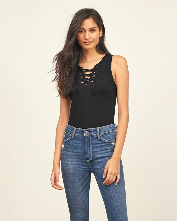Womens Cropped Lace Up Tank