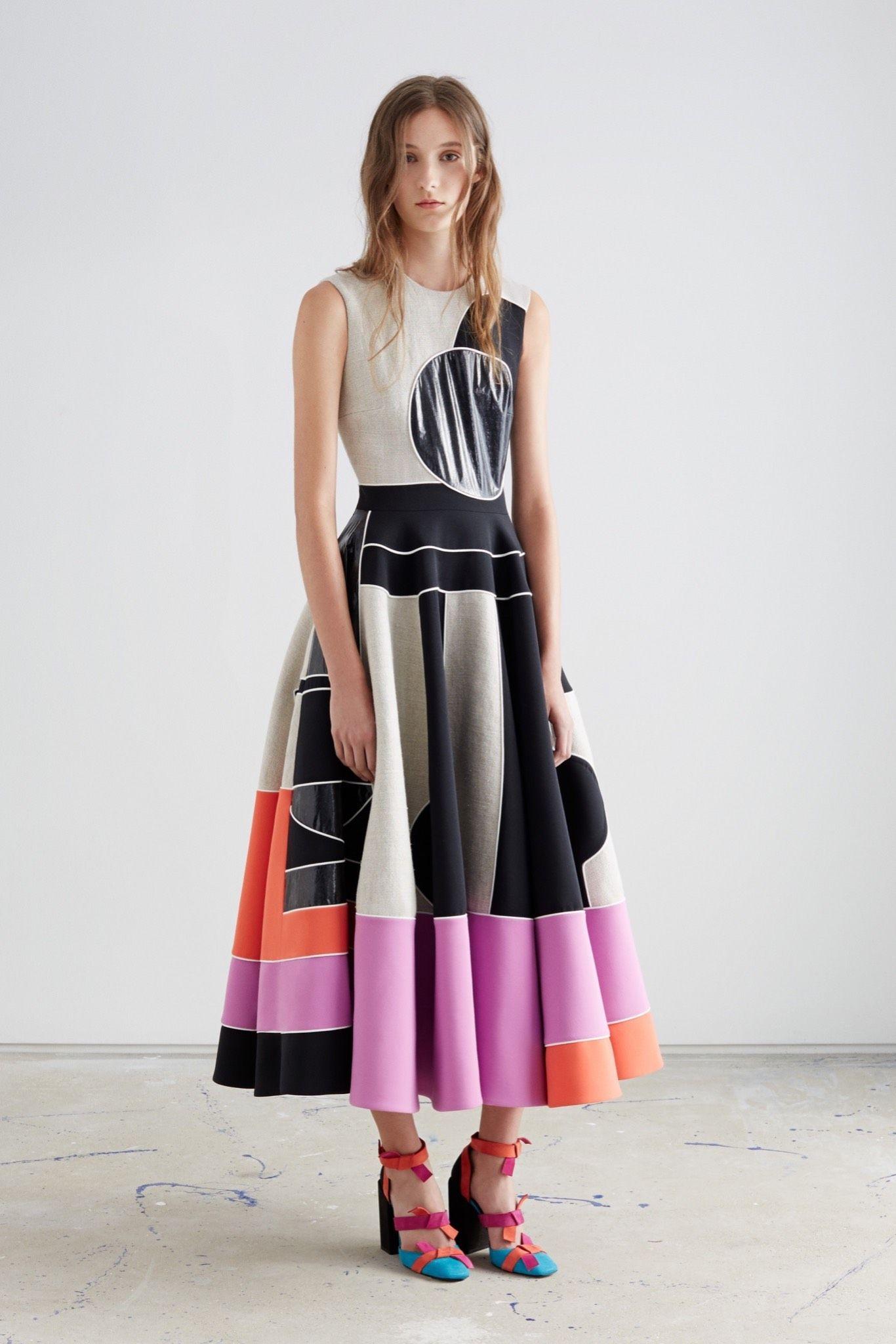 Linen + cady dress: Roksanda Resort 2016 available for pre-order at @modaoperandi