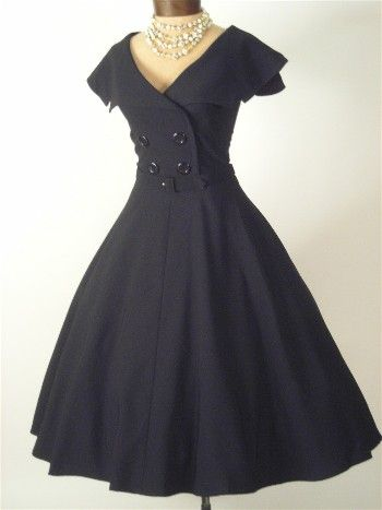 b34cd0784b7 Bettie Page Vintage Style Black Swing Dress. Fitted double breasted bodice  with sailor collar. Full