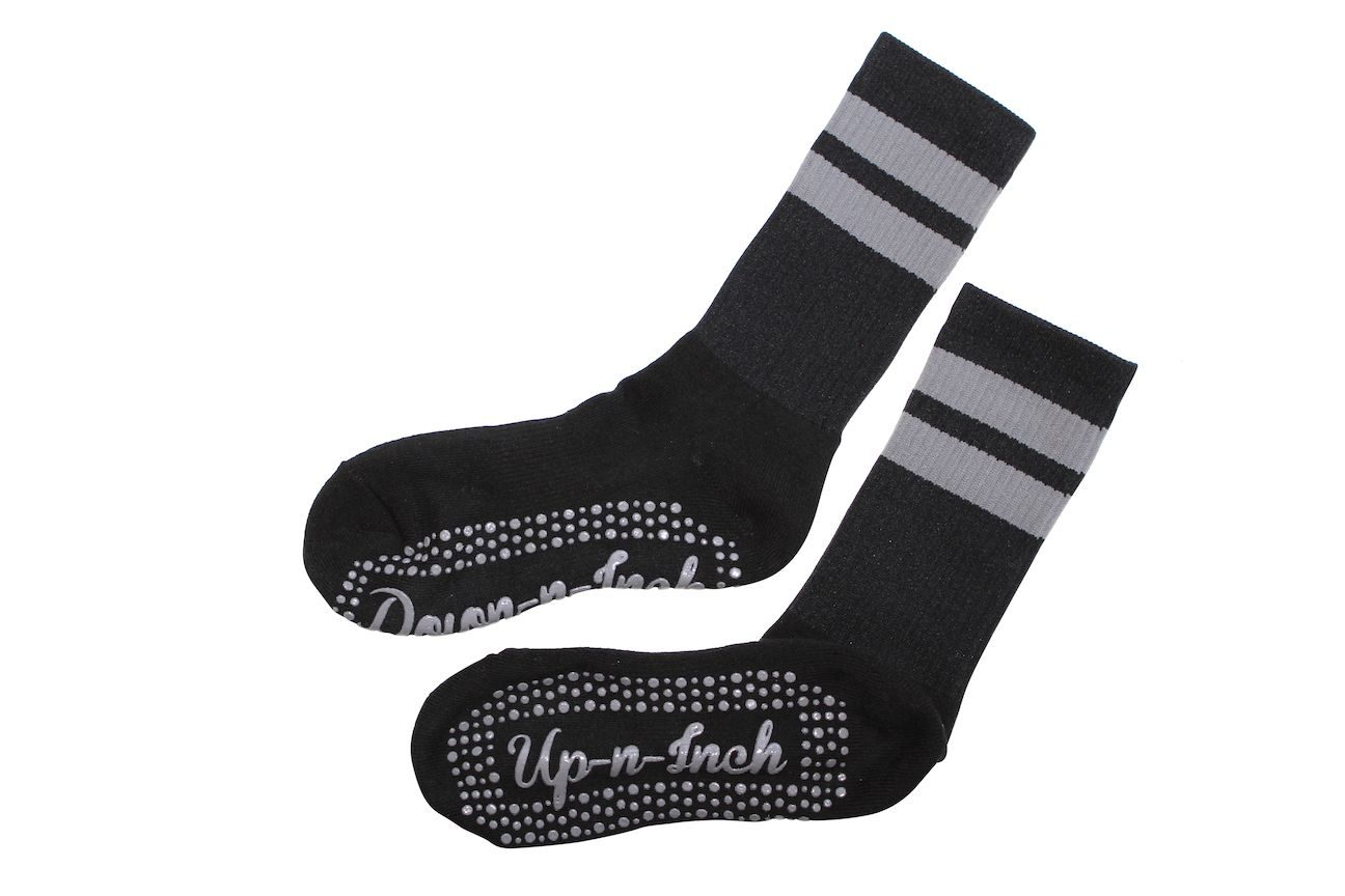 Up/Down Inch Script Calf High Stripes Black/Gray | BarreSocks