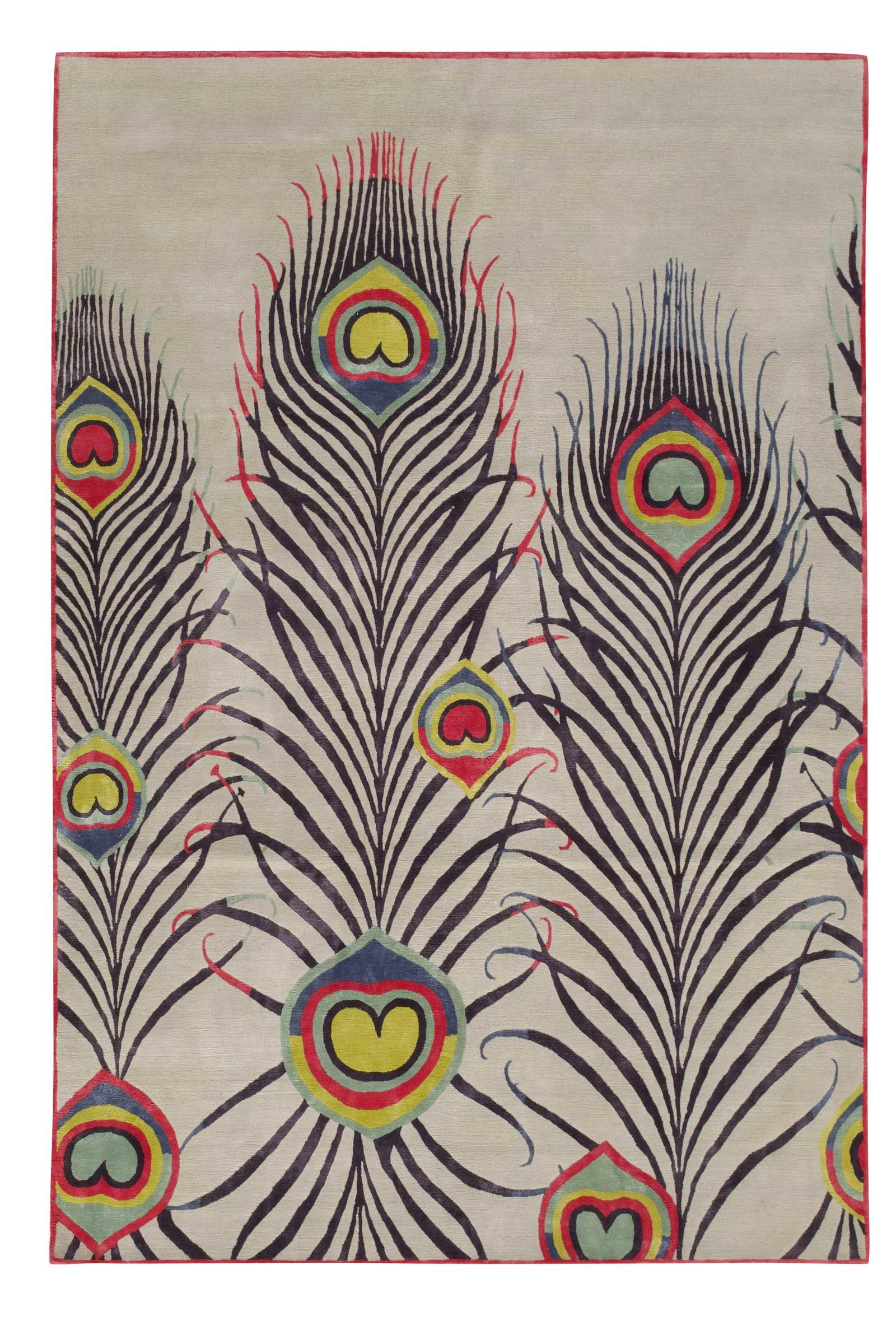 Pea Light By Matthew Williamson Silk Contemporary Hand Knotted Designer Rugs