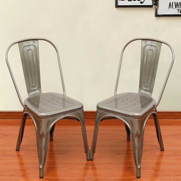 Adeco Green Metal Stackable Industrial Chic Dining Chair Outdoor And Indoor  Set Of Two