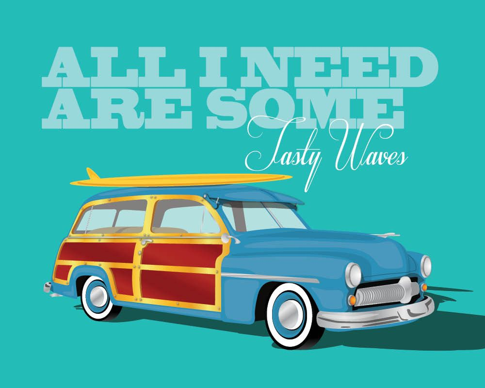 Vintage Woody Wagon Retro Car Art Poster Surf Quote Art