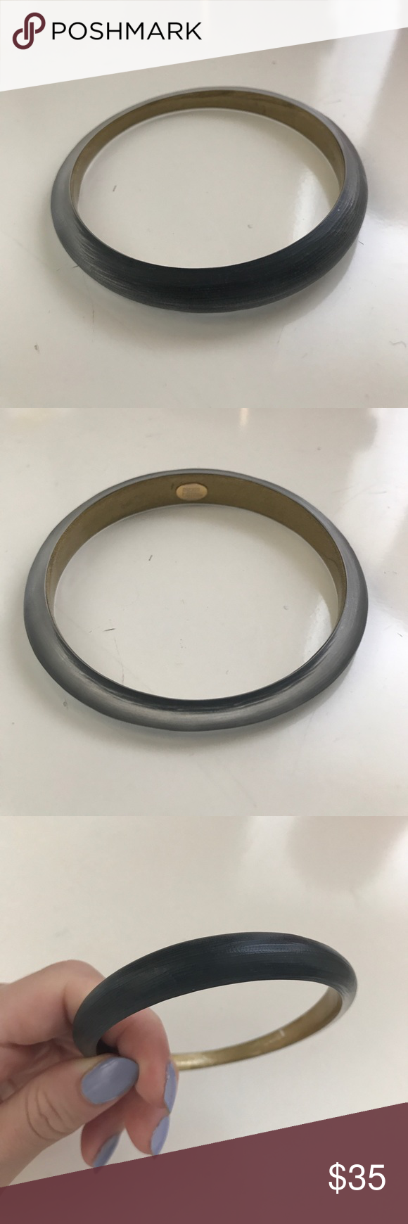 Alexis Bittar Black Lucite Skinny Taper Bangle Perfect condition. No signs of wear. Alexis Bittar Jewelry Bracelets