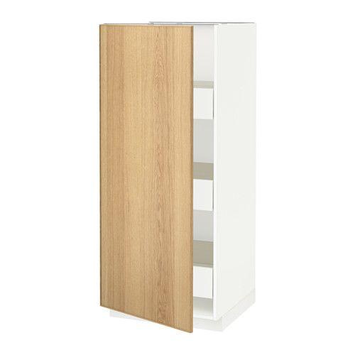 METOD / FÖRVARA Élément armoire avec tiroirs - blanc, Ekestad chêne
