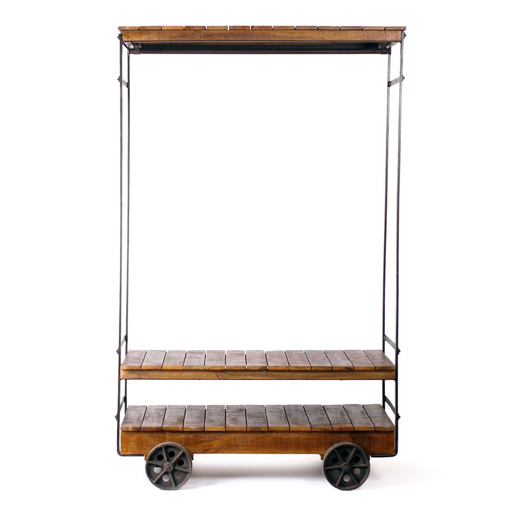 Almira Industrial Style Rolling Garment Rack    Could I Make This Using Old  Pallets,