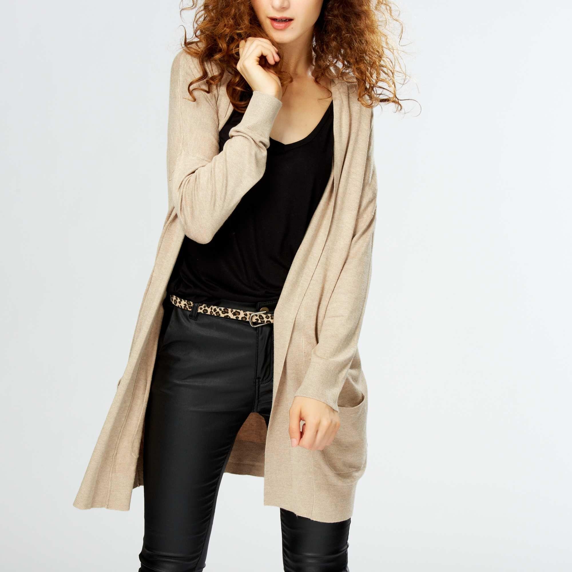 15 00 gilet long avec poches beige femme id es mode. Black Bedroom Furniture Sets. Home Design Ideas