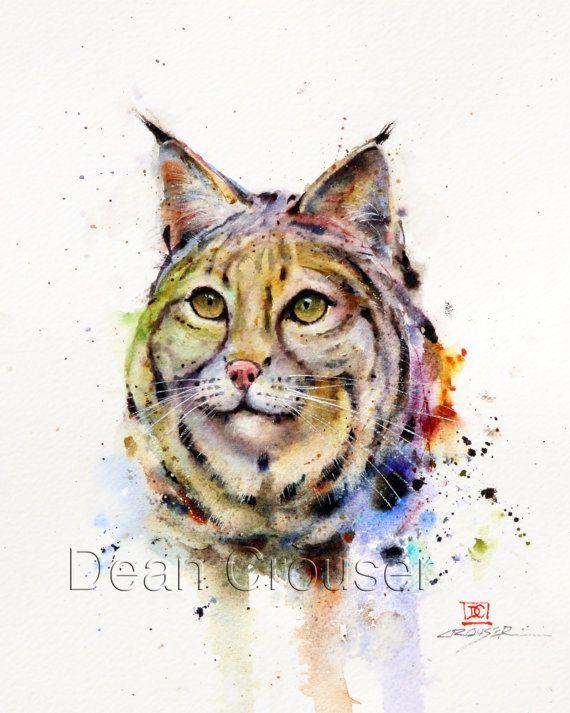 BOBCAT Watercolor Print by Dean Crouser por DeanCrouserArt en Etsy