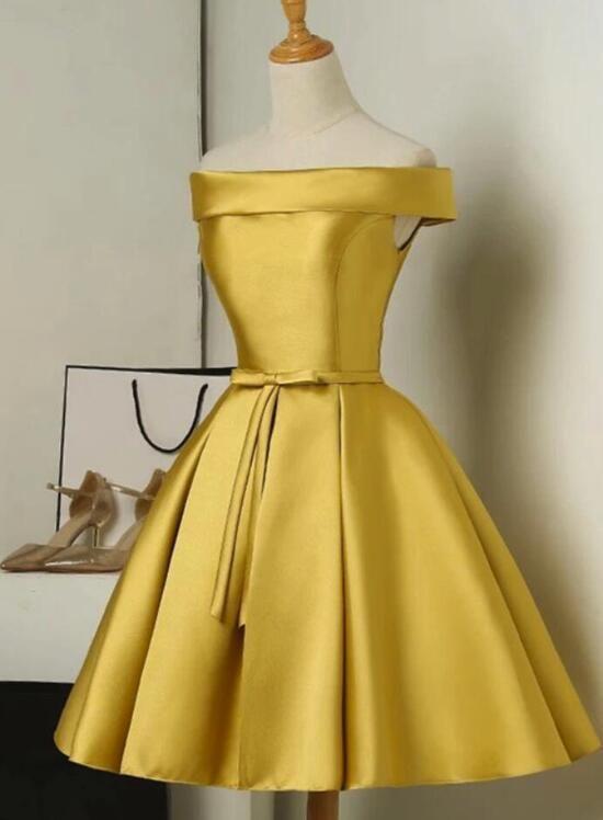 c2c12d10bd Gold Satin Off Shoulder Short Formal Dress 2019