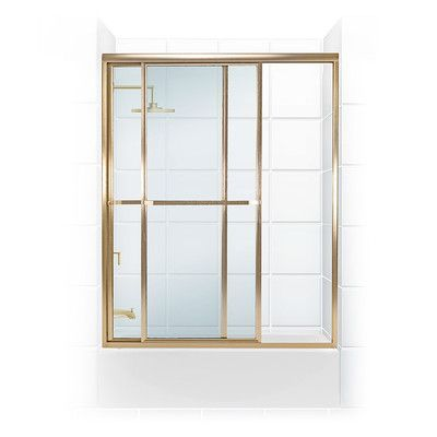 "Coastal Industries Paragon Series 49.5"" x 58.31"" Sliding Tub Enclosure Glass Type: Clear, Frame Finish: Gold"