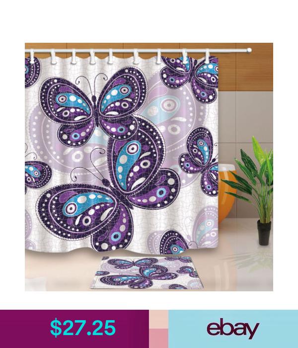 Shower Curtains Purple Butterfly Bathroom Shower Curtain