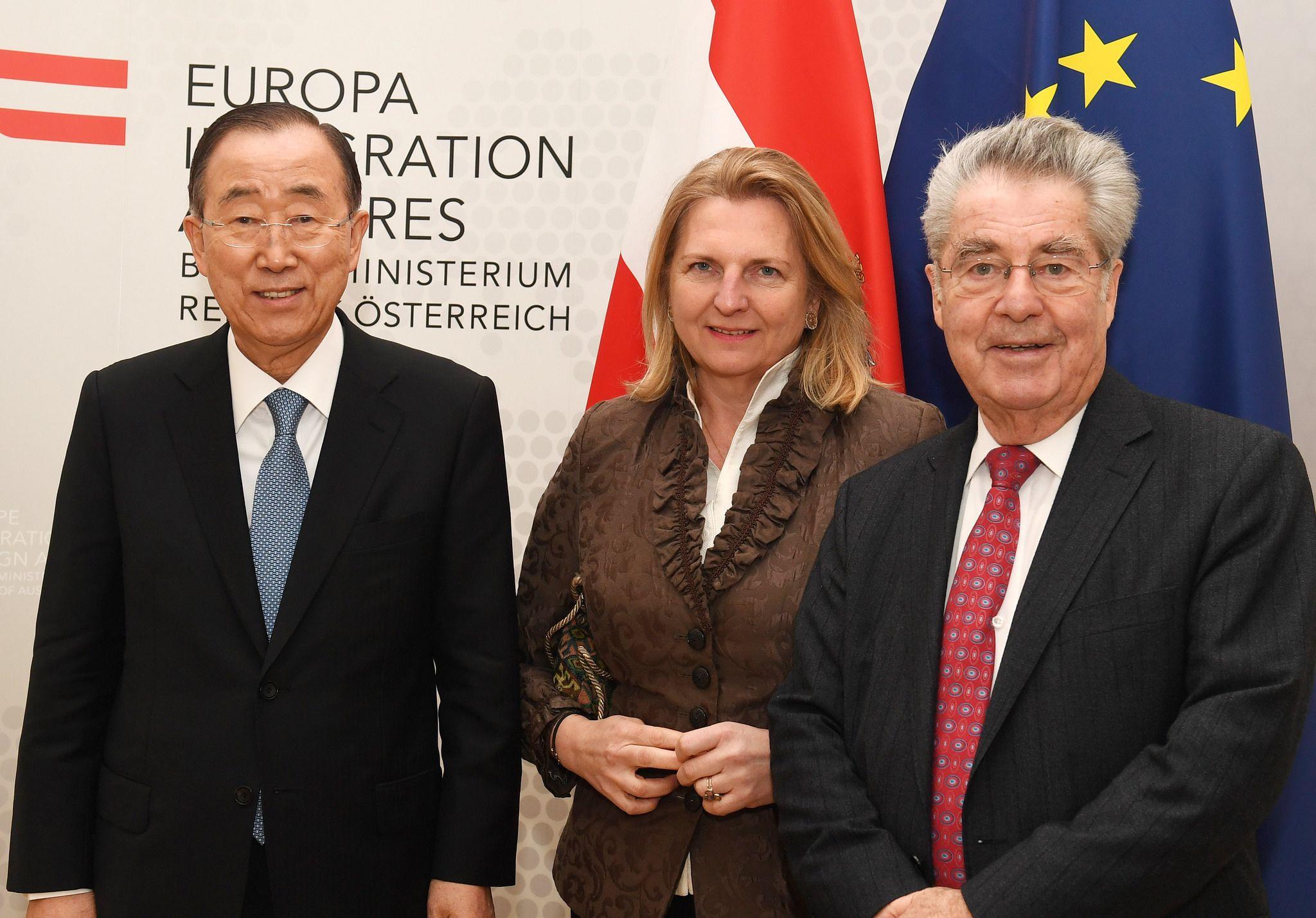 Aussenministerin Kneissl Trifft Ehem Vn Gs Ban Ki Moon Sowie Altbundesprasidenten Dr Heinz Fischer Aussenminister Alter Bundchen