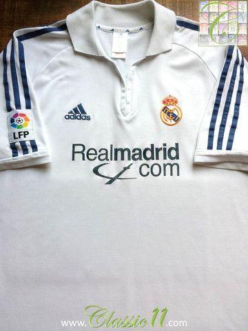 3ec77441e Relive Real Madrid s 2001 2002 La Liga season with this vintage Adidas home football  shirt.