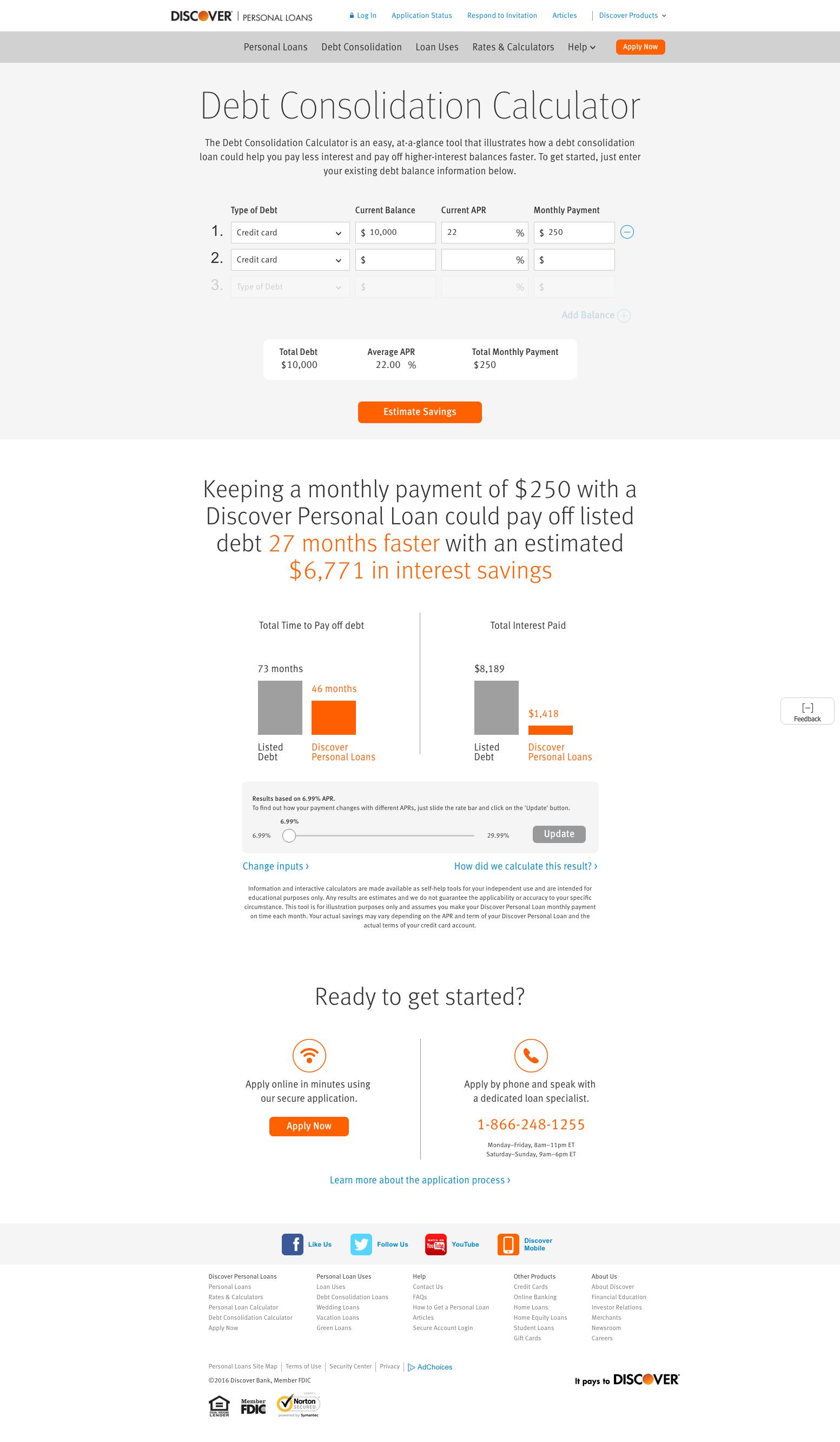 Consolidating debt calculator