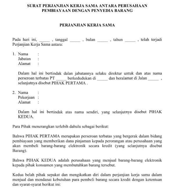 Contoh Surat Perjanjian Kerja Sama Perusahaan Pembiayaan