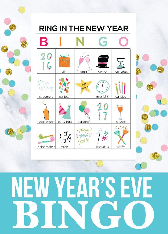 Printable New Year's Eve BINGO Sheets Bingo sheets, Ring