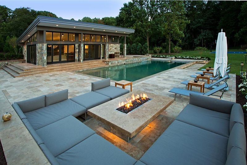 33 Pool Houses With Contemporary Patio Backyard Fire Modern Fire Pit Fire Pit Backyard