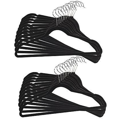20Pk Black Flocked Hangers