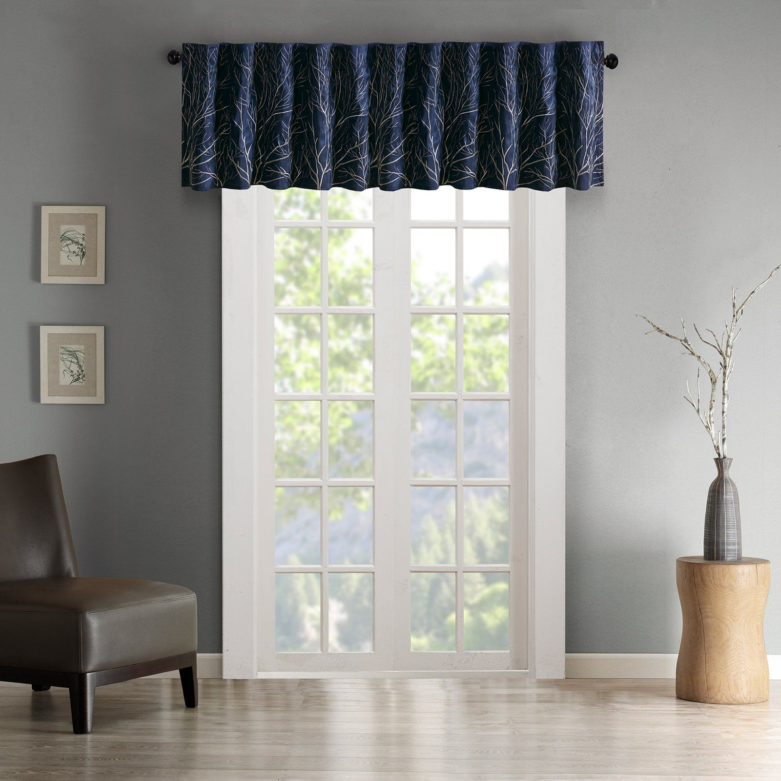 Madison Park Andora Faux Silk Embroidered Valance Navy Window Valance Home Essence Valance