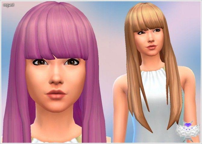 Super Long Hair With Short Bangs At David Sims Sims 4 Updates Long Hair Styles Hairstyles With Bangs Short Bangs