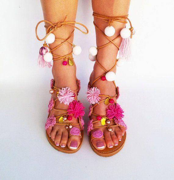 3e9cc39a7fb23 Pom Pom Sandals, Tie up Gladiator Sandals, Boho Leather sandals ...