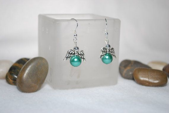 Angel Wing Earings with blue/green colored by TheMajesticElephant, $5.00