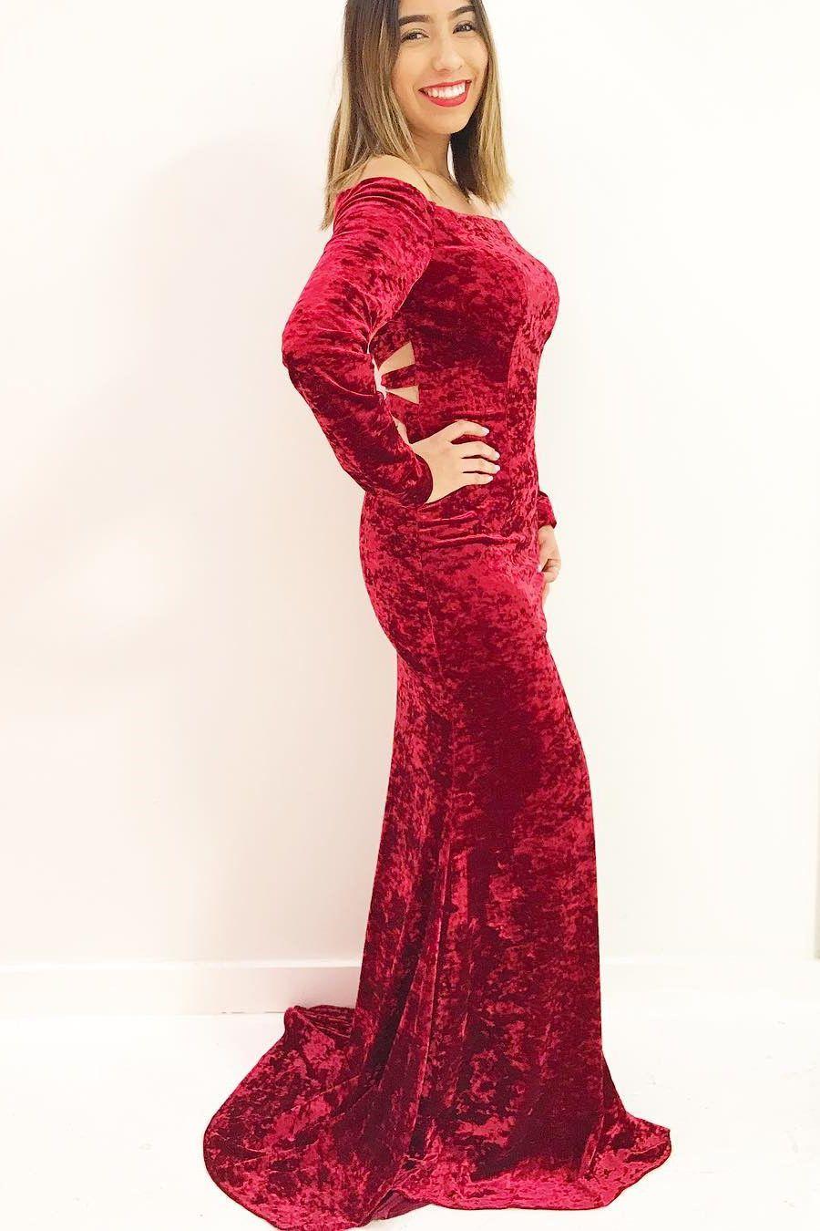 Long sleeves red velvet mermaid long prom dress evening dress