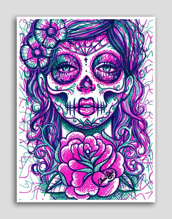 Day of the Dead Sugar Skull Girl Colorful Pop Art Neon ...