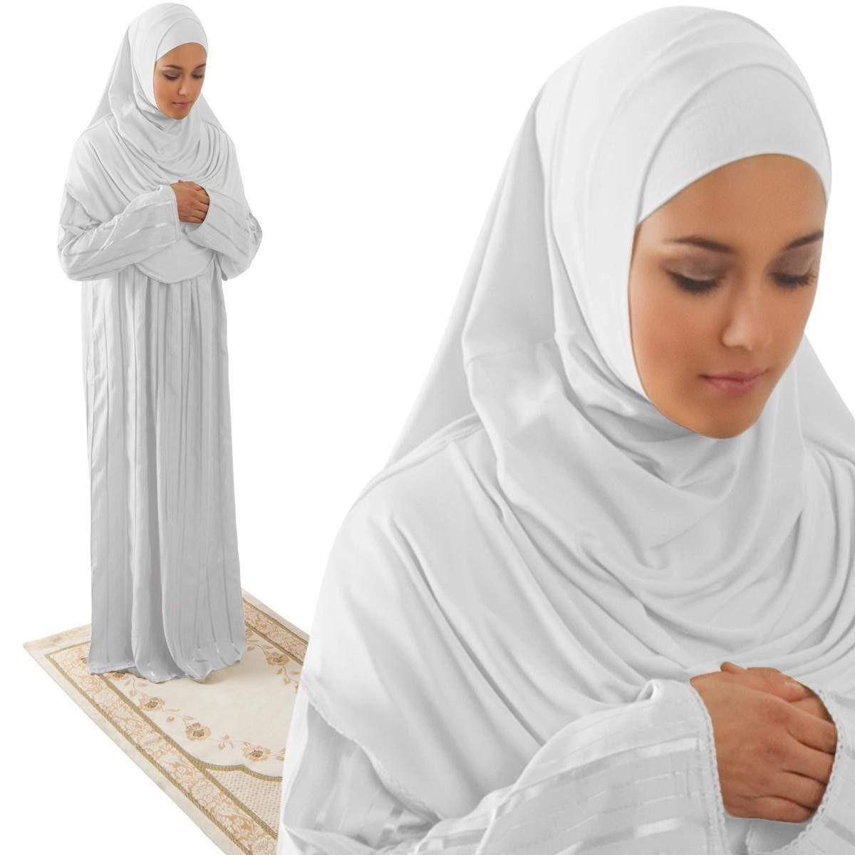 Amade Womens One Piece Prayer Dress White Abaya Gift Set In 2018 Busana Muslim Layla Phasmina