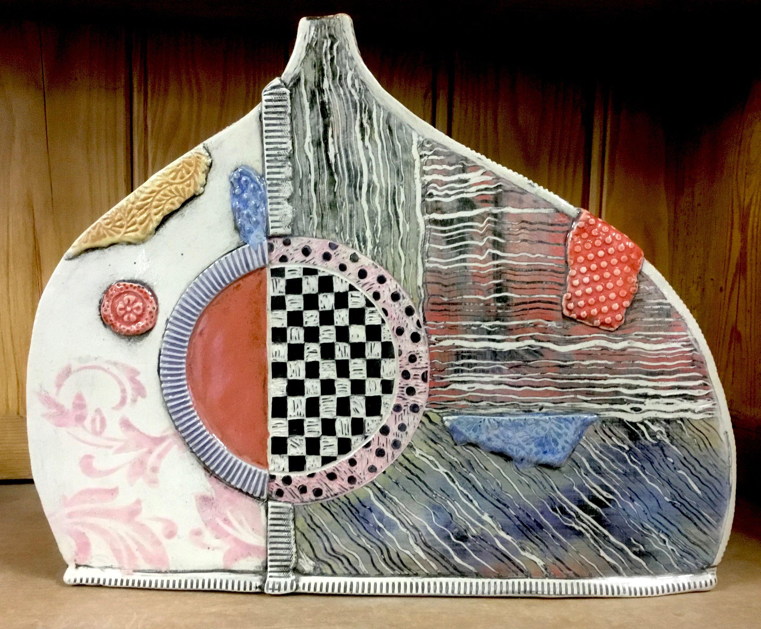 Handmade Hand Built Patchwork Bottle With Checkered Sgraffito Slip Transfer And Coyote Underglazes Marbling Design Glazes Inc Slab Pottery Sgraffito Handmade