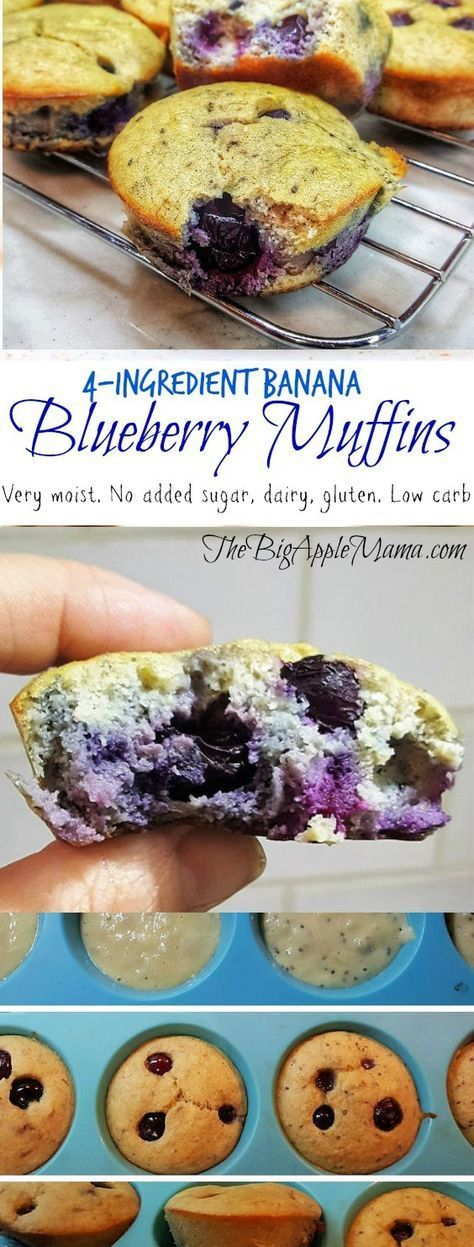 Photo of Muffins aux bleuets et aux bananes à 4 ingrédients et à faible teneur en glucides. Sans gluten. Amical paléo. Non …
