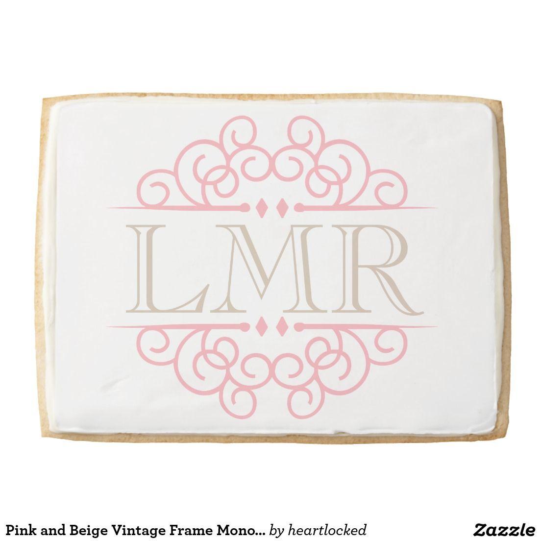 Pink and beige vintage frame monogram jumbo cookie all things
