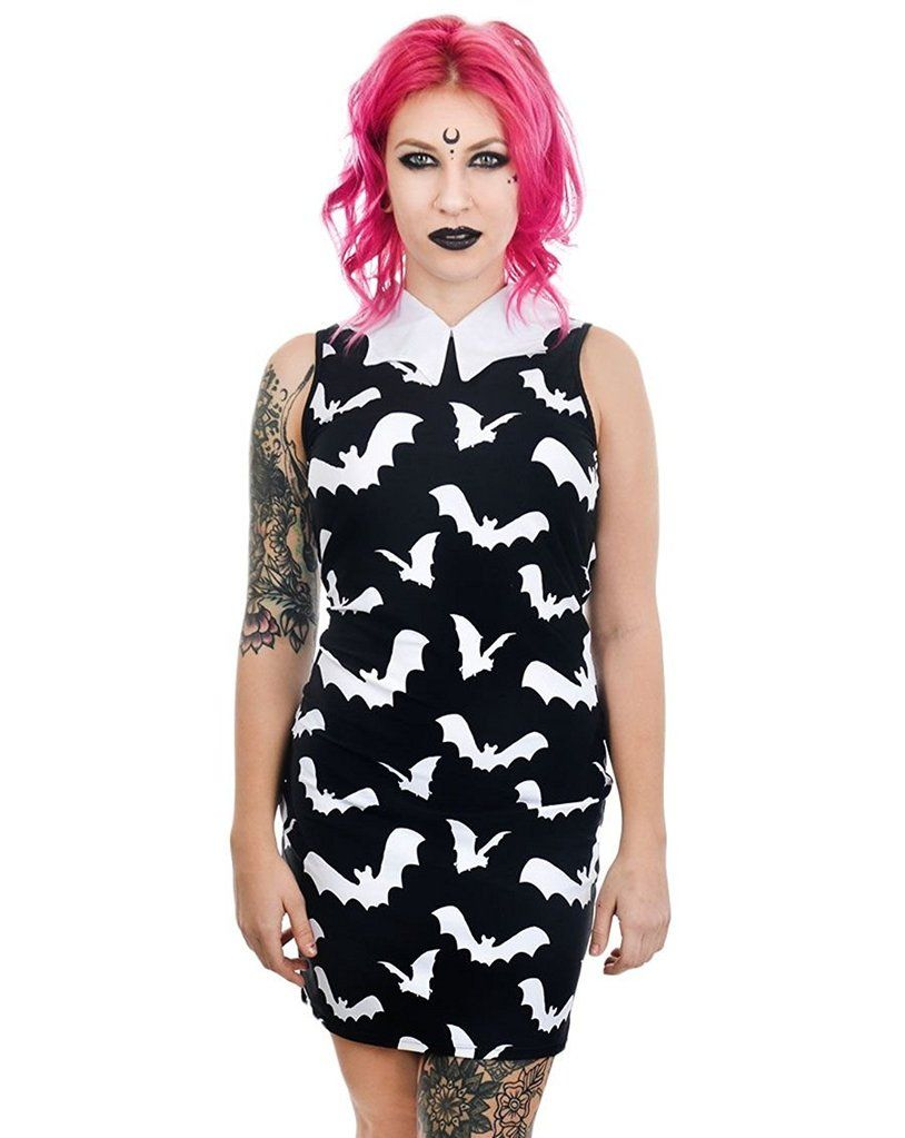 a27da44623f Bat Wing Shaped Collar Dress Wednesday Style All Over Batty Print ...