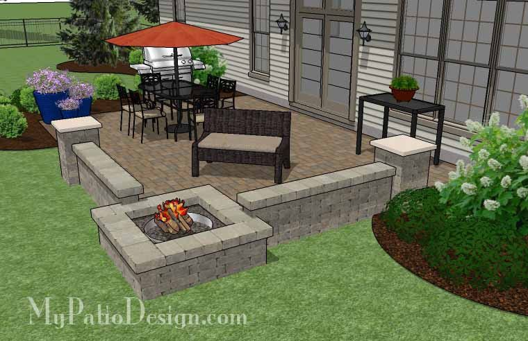 paver patio with fire pit. Relax, Dine And Entertain With Our Large Rectangular Paver Patio Design Seating Wall Fire Pit. Plan Is Fully Dimensioned How-to\u0026 Material Pit S