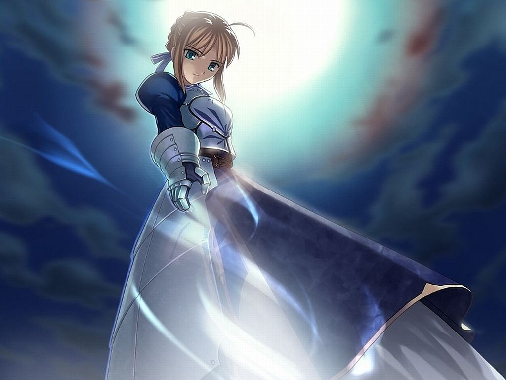 saber!! in fate stay night drawing out her excalibur sword, nothing