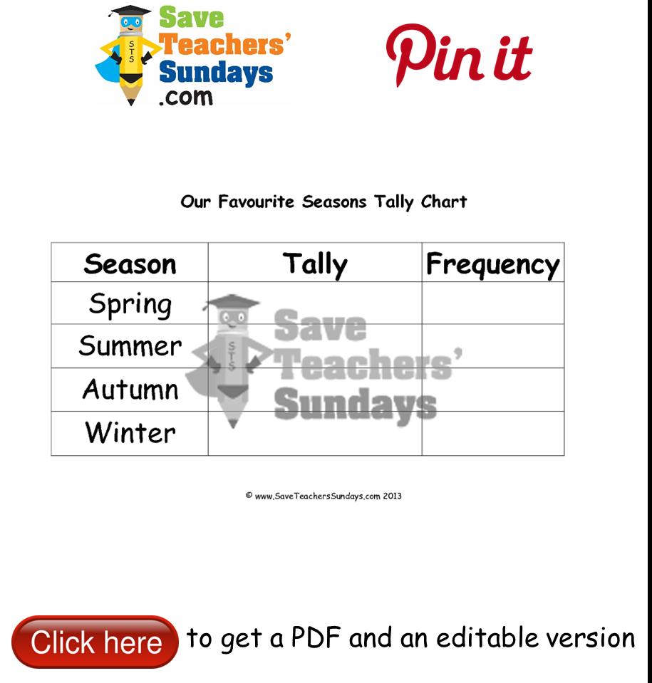 worksheet Tally Chart Worksheets blank tally chart on seasons go to httpwww saveteacherssundays saveteacherssundays