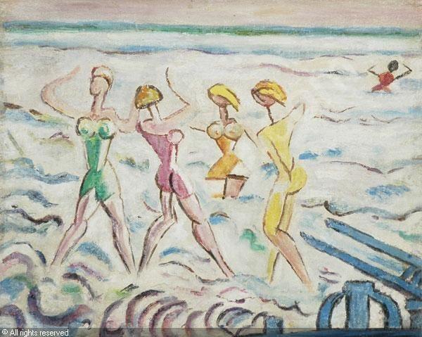 """LÉVY Moses (Tunisi 1885- Viareggio 1968 (France), """"Bagnanti"""" Huile sur toile contrecollée sur carton ARTVALUE"""
