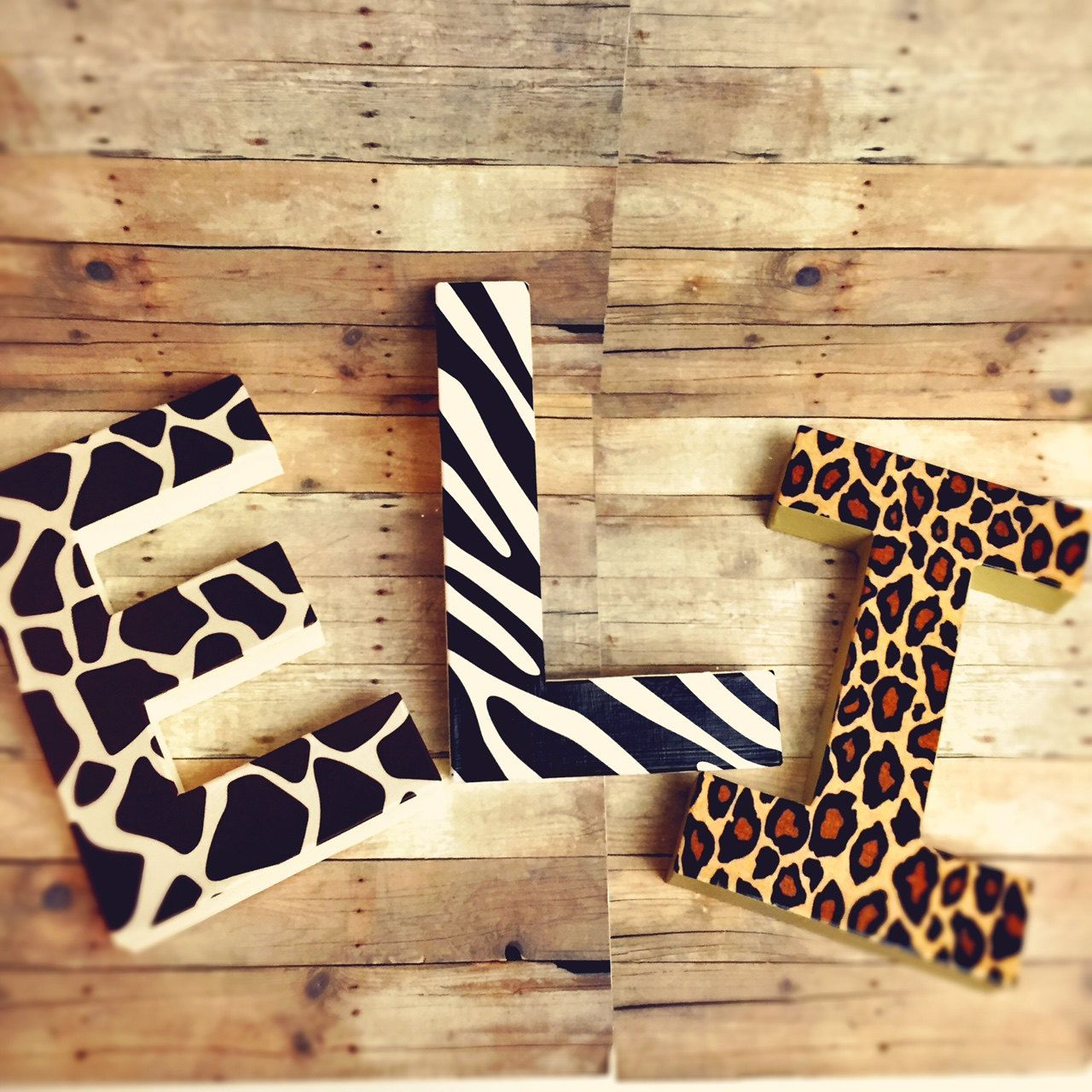 Glitter dipped Letters animal print letters self standing letters ...