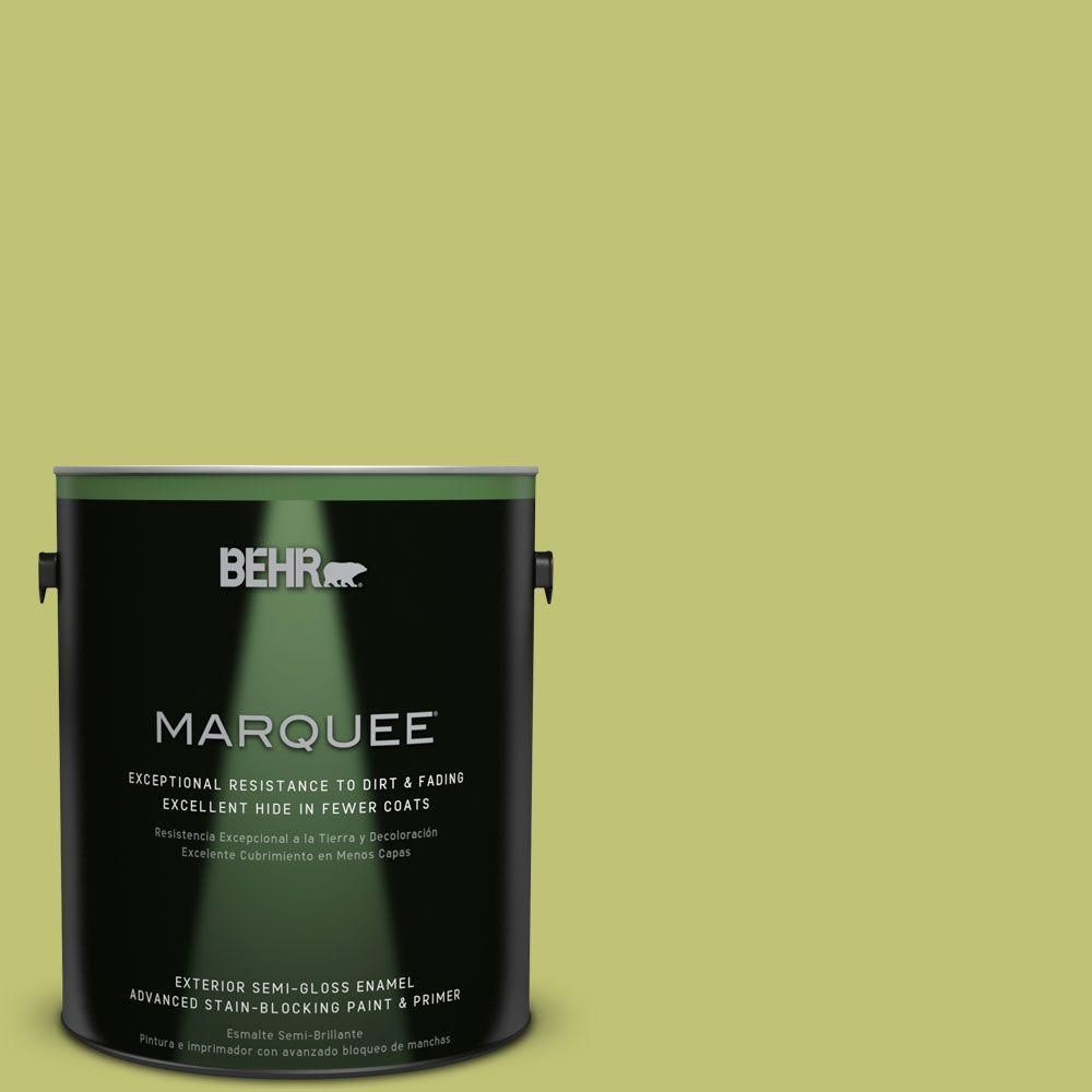 BEHR MARQUEE 1-gal. #PPU9-7 Fresh Sprout Semi-Gloss Enamel Exterior Paint