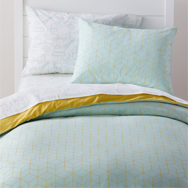 Organic Geo Tile Mint Duvet Cover Crate and Barrel in